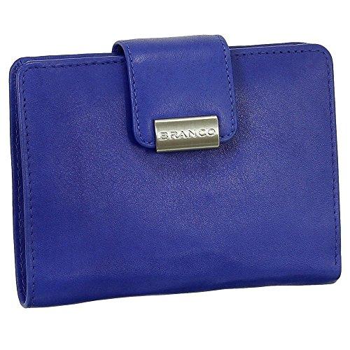 Luxus Leder Damen Geldbörse Portemonnaie Geldbeutel XXL mit Druckknopf 10 cm Farbe royalblau