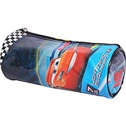 HMI Original Disney & Marvel Licensed PVC Pencil Pouch / Pencil Bag, Round Cylindrical Shaped (Pixar Cars 3)