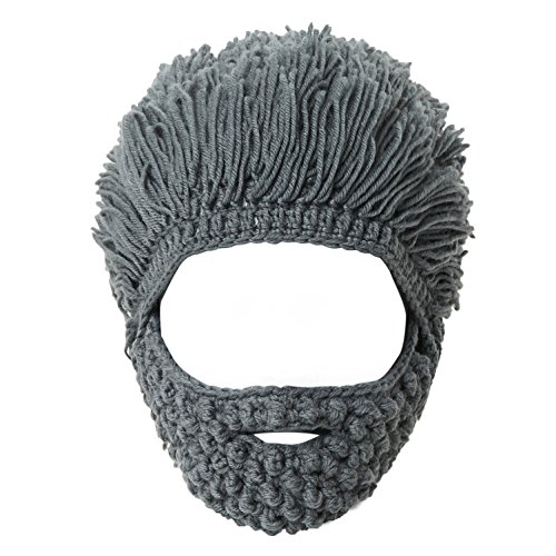 Lantra Besa Damen Herren Perücke Bart Mütze Lustige Strickmütze mit Haare für Skilaufen Karneval Halloween Cosplay Party EINWEG - Maskenbart, Grünliches Grau B