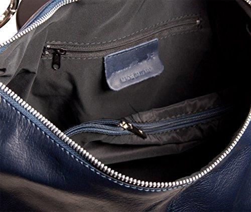 Pelle Italy Damen Shopper Tasche Echtes Leder 37x30x12 cm (BxHxT), Farbe:Rot Marrone