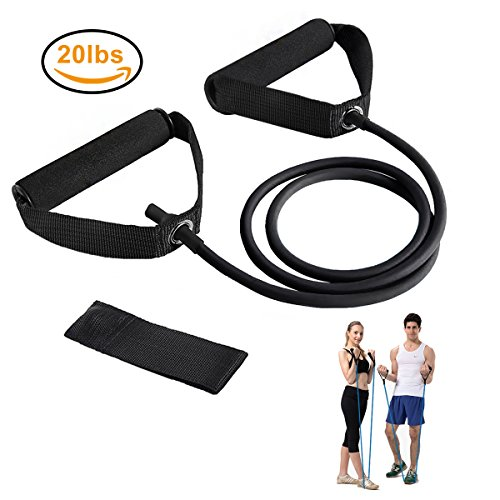 Resistance Bands, Exercise Bands with Handles, Home & Gym Strength Training Tubes, Resistance Loop Bands for Men/Women, Workout Bands for Shoulder, Arm and Leg, Fitness Strength Training Equipment for Improving Mobility 20 lbs (Black)