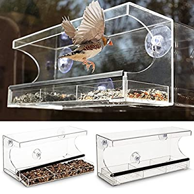 New 3 Compartment Glass Window Clear Viewing Bird Feeder Table Seed Suction Perspex from FiNeWaY