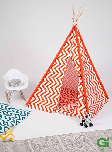 Grafinteriors Treamer - Tipi/tienda de campaña de estilo indio con alfombra para el suelo y conjunto antideslizante, diseño nuevo de GI, color rojo/blanco