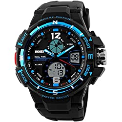 LinTimes Mens Multifunction Big Sports Watch Dual Time Display Digital and Analog 30M Water Resistance Backlight Sport Wristwatch Blue