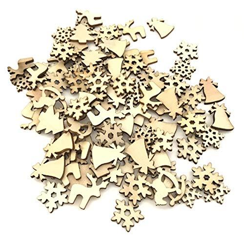 vitihipsy 100 pz/Borsa Regali Fai da Te Chip di Legno Naturale Albero di Natale Fiocchi di Neve Deer Horse Bell Forma Ornamenti di Natale Decorazioni