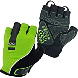 CVC Eva Gel Fingerless Cycle Gloves - Short Finger Mitts for MTB and Road Cycling, Gym, Crossfit, Men and Women (Yellow, Large)