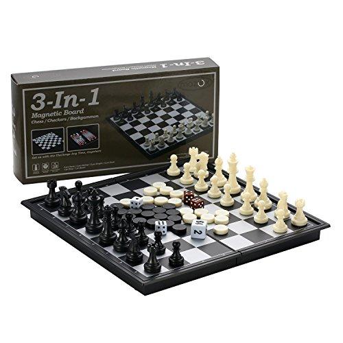 3-in-1 Falten Magnetisches Schach & Dame & Backgammon Schach Set von MAZEX für Kinder oder Erwachsene Schach Brettspiel (9.8X9.8X0.8 Inch)