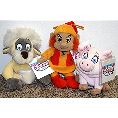 Rare Disney Black Cauldron Complete Set of 3 Plush Bean Bag Dolls Including Gurgi, Fairfolk, and Hen Wen Mint with Tags by Disney