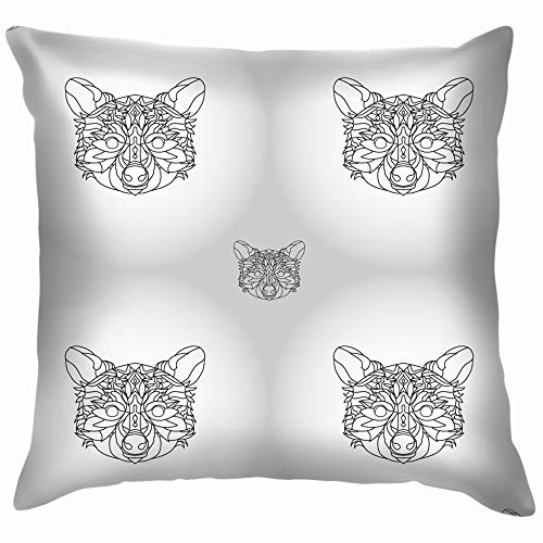 Funny&shirt Raccoon Graphics Design Coloring Page Tattoos Animals Wildlife Animal The Arts Cotton Throw Pillow Case Cushion Cover Home Office Decorative, Square 18X18 Inch