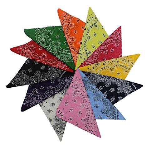 KurtzyTM 12 Bandanas Colorés en Coton avec Motifs Cachemire pour Écharpes, Bandeaux, Cache-Poignets 5060392489369