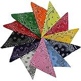 KurtzyTM 12 Bandanas Colorés en Coton avec Motifs Cachemire pour Écharpes, Bandeaux, Cache-Poignets