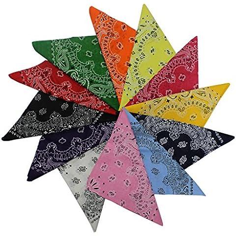 KurtzyTM Pack de 12 Bandanas de Colores con Diseño de Cachemir, Bufandas, Diademas, Muñequeras