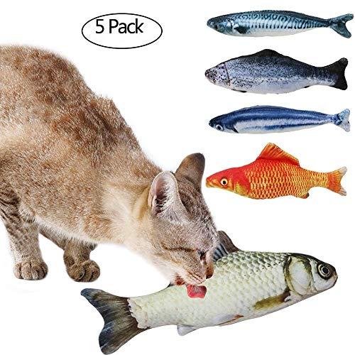 Tacobear Spielzeug mit Katzenminze 5 Stück Katze Interaktive Spielzeug Katze Fisch Spielzeug...