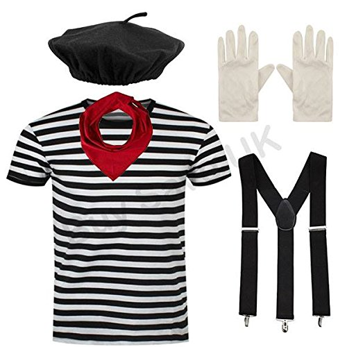 Men's French Mime Artist Costume Set, with striped tee, beret, red scarf, white gloves, braces