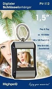 """Muttertags Edition: HighpeQ Digitaler Mini-Bilderrahmen z.B. als Schlüsselanhänger (3,81 cm / 1,5 """" Display), Silber, mit Uhr, Akku und Speicher für ca. 135 Bilder, integrierte Software - Geschenk Muttertag"""