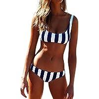 Bañadores Deportivas Mujer, Xinan Traje De Baño Bikini-Mujer Push-up Acolchado Bra Bikini Verano Trajes de baño Rayas Tops y Braguitas Mujer Tejido Bikini Ropa Interior Braguitas