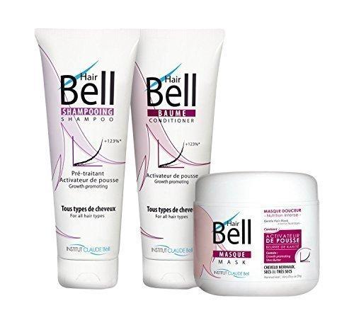 Pack Trio Hairbell Activateur de pousse de cheveux Shampoing +Baume+Masque