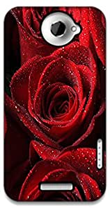 The Racoon Lean red rose hard plastic printed back case / cover for HTC One X
