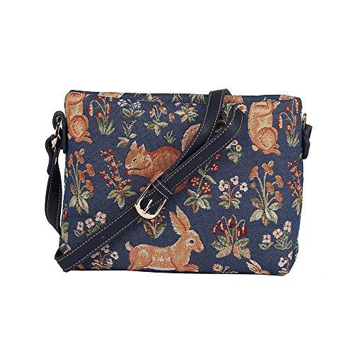 Borsetta donna Signare alla moda in tessuto stile arazzo a spalla borsa messenger a tracolla floreale Vita della foresta blu
