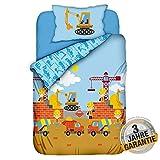 Aminata Kids Kinderbettwäsche 100 x 135 cm + 40 x 60 cm Baumwolle Reißverschluss Baustelle, Bagger-Motiv, Betonmischer, Baby Bettwäsche-Set, bunt, weich, Öko-Tex