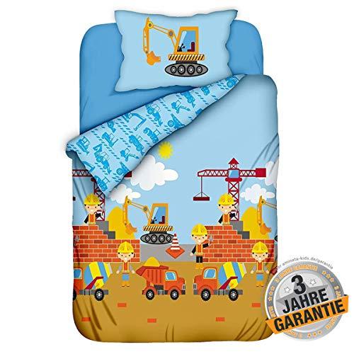 Bett Kostüm Gute 4 - Aminata Kids Kinderbettwäsche 100 x 135 cm + 40 x 60 cm Baumwolle Reißverschluss Baustelle, Bagger-Motiv, Betonmischer, Baby Bettwäsche-Set, bunt, weich, Öko-Tex