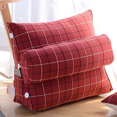 MMM- Coussin Coton Et Lin Américain Canapé Oreiller Triangulaire Chevet Bureau Sangle Dossier Protecteur Cou Cou Garde (Couleur : Rouge, taille : 45)