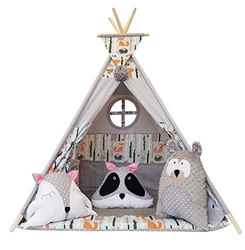 Izabell Kinder Spielzelt Teepee Tipi Set für Kinder drinnen draußen Spielzeug Zelt Indianer Indianertipi mit Fenster Tipi mit und ohne Zubehör Tipizelt - Schatz Garten Terrasse