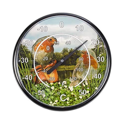 Unbekannt Maxi-Thermometer Vögel, Thermometer, Temperaturanzeige mit Temperatur-Mess-Sensor, große Anzeige, weiße Ziffern, Wetterfest, ohne Batterien, Kunststoff, Ø 32 cm -