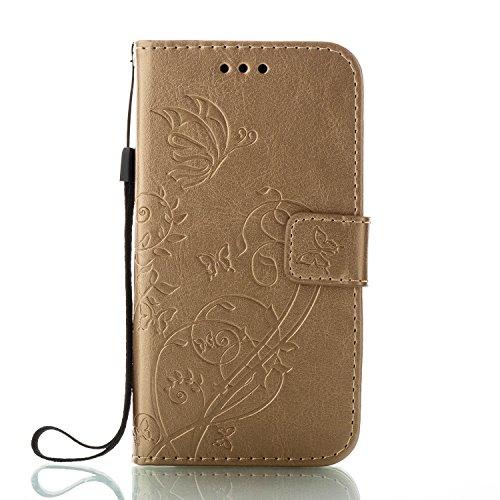 Unisnug Etui J3 2017,Coque Protection en PU Cuir pour Samsung Galaxy J3 2017 SM-J330F,Housse Portefeuille Pochette Samsung J3 Cover Smartphone Case-Or