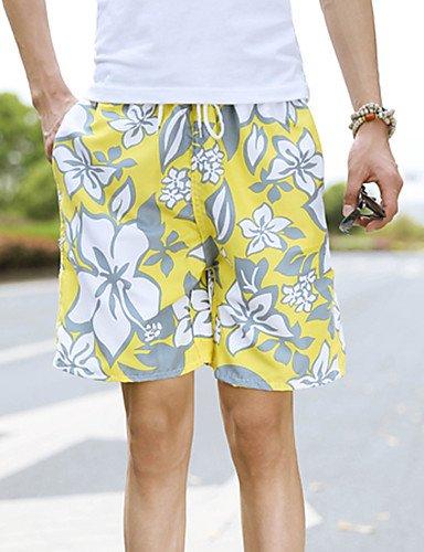 Da uomo A vita medio-alta Semplice strenchy Chino Pantaloncini Pantaloni,Largo Tinta unita Yellow