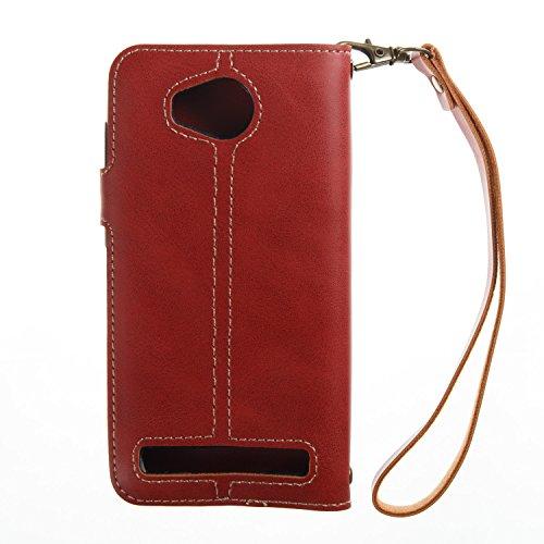 Hülle für Huawei Y3 II, Tasche für Huawei Y3 II, Case Cover für Huawei Y3 II, ISAKEN Farbig Blank Muster Folio PU Leder Flip Cover Brieftasche Geldbörse Wallet Case Ledertasche Handyhülle Tasche Case  Knopfe Linie Rot