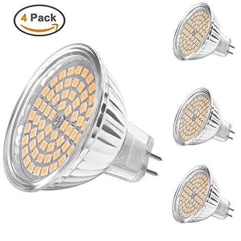 MHtech Lot de 4 MR16 GU5.3 LED Lampes 5W 380 Lumen 3000K Blanc Chaud Equivalente à Halogène 50W 60*2835 SMD LED Ampoules Angle du faisceau 120º AC/DC 12V