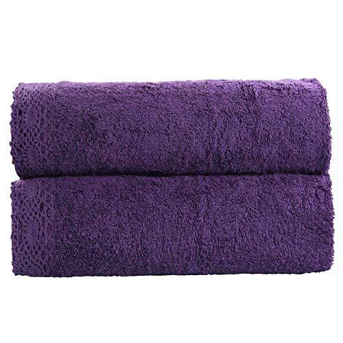 Grenze Waschlappen (SDXGCFV 1 Teile/Los 70X140 cm 100% Baumwolle Badetuch Spitze Grenze Stickerei Gesicht Haar Bad Quick-Dry Erwachsene Waschlappen)