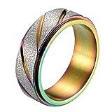 YABEINI Schmuck 8mm Stahl Titan Bunte Plating Schleifblattlinien Ring für Unisex Ringe (Kann Gedreht Werden)