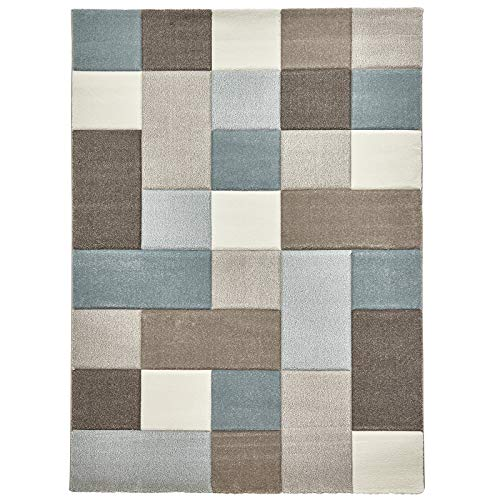 HomeLinenStore Modern Kariert Sehr Langlebig handgeschnitzt beige/blau Farbe Teppich in verschiedenen Größen, Polypropylen, beige/blau, 160 x 220 cm -