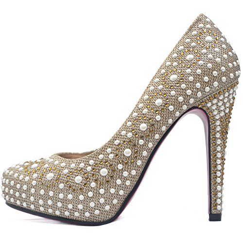 ROSELIGHT High Heels Pumps mit Rosa Sohle Gold