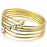 COOLSTEELANDBEYOND Bracelet en Acier pour Femmes Multi-Brin élastique Réglabl Or Bracelet Manchette Câble Torsadé avec Perle Charmes