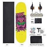 ZYSMC 80CM Skateboard Professionale da Assemblare, Skateboard Acero Adulto Personalizzato, Skateboard per Adulti A Ruote Doppie,3
