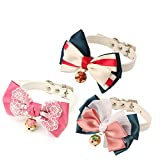 MEWTOGO Adjustable and Adorable Cat Collar with Bell and buckle(Bowknot,3 PCS)