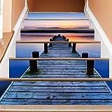 LIZHIOO Treppenaufkleber Water Docking Bridge 3D Dekorative Treppen, Die Selbstklebende Wandaufkleber Anbringen (100cm*18cm) 13pcs