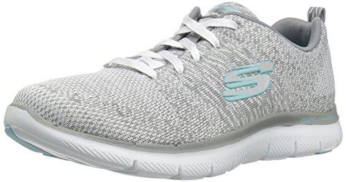 Skechers Damen Flex Appeal 2.0-High Energy Sneaker, Weiß (White/Grey), 39.5 EU (Womens Arch Low)