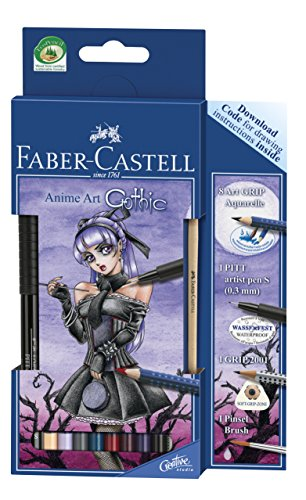 Stifte Manga (Faber-Castell 114485 - Zeichenset Art Grip Aquarelle Anime Art Gothic)