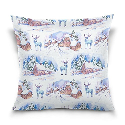 Price comparison product image Not afraid Winter Christmas Landscape Cotton Standard Size Pillowcase 20 X 30 Inches Twin Sides,  Reindeer Christmas Tree House Pillow Case Sham Cover Protector Decorative for Couch Ded