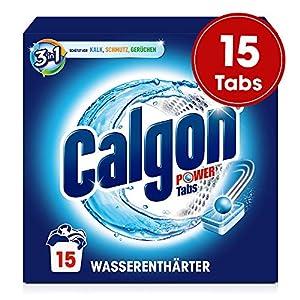 Calgon 3in1 Power Tabs – Wasserenthärter gegen Kalkablagerungen und Schmutz in der Waschmaschine – Beugt unangenehmen Gerüchen vor