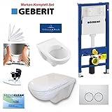 Geberit Duofix Vorwandelement kpl.-Set mit V&B WC Onovo Spülrandlos, Deckel, Drückerplatte