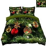 HUANZI Bettbezug Set 3D Weihnachtsdekoration GrüNe Pflanze Und Ballon-Druckmuster BettwäSche-Set 3 StüCk, Green, Single 150 * 200cm