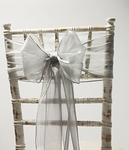 Silk Organza Chair Sashes Hoods OR Table Runners 6 Colours Wedding Chairs Event (Grey Sash)