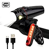 Bike Lights Front and Back, Inspirebike USB Rechargeable LED Bicycle Lightwith Bike Tail Light - Cycling Light Universal Fits for Any Road Mountain Bike (Black)