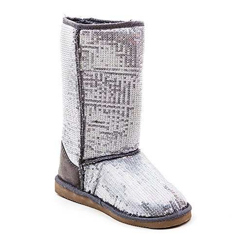 Pailletten Stiefel Silber 36-41 Damen & Herren Designer Schuh (38) (Stiefel Schuhe Pailletten)