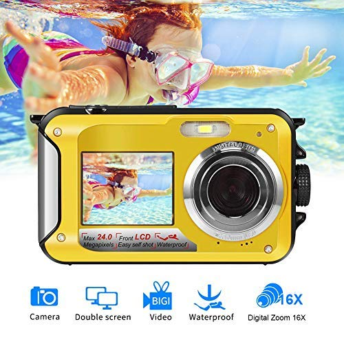 Unterwasserkamera Full HD 1080P zum Schnorcheln 24.0 MP Wasserdicht Kamera Dual Screen Digitalkamera Wasserdichte